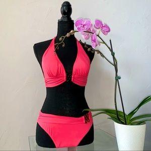 Atlantic Beach Solid Pink Bikini Set